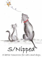 S/Nipped (Coos Bay, Oregon) logo is a dog and cat watching a butterfly