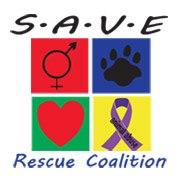 S.A.V.E. Rescue Coalition (Santa Fe, Texas) logo is blocks with a heart, pawprint, gender symbol, and purple ribbon