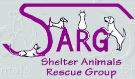 Shelter Animals Rescue Group (Oak Ridge, Tennessee) | logo of purple SARG, cats, dogs, Shelter Animals Rescue Group