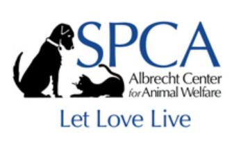 SPCA Albrecht Center for Animal Welfare, (Aiken, South Caroline) logo black dog and cat silhouette with blue and black text