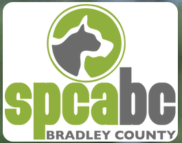 SPCA of Bradley County (Cleveland, Tennessee) logo gray cat and white dog silhouette in green circle above org name