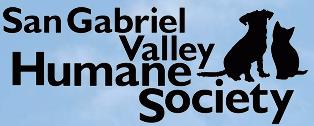 San Gabriel Valley Humane Society (San Gabriel, California) logo is a black dog and cat sitting next to the organization name
