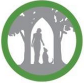Sanctuary One (Jacksonville, Oregon) logo is a person and a dog underneath two trees in a green circle
