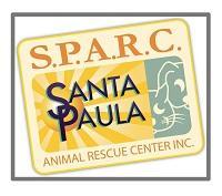 Santa Paula Animal Rescue Center (Santa Paula, California)   logo of rectangle card, sun, sunrays, cat, dog, S.P.A.R.C.