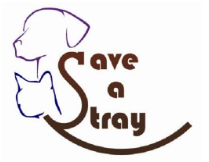Save a Stray (Mobile, Alabama) logo with dog and cat outline in blue and purple to left of organization name