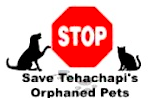 Save Tehachapi's Orphaned Pets (Tehachapi, California) logo is a stop sign with a black dog and black cat on each side of it