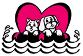 Save-A-Pet Animal Rescue (Port Jefferson Station, New York) logo is a heart behind a dog and cat on a life raft