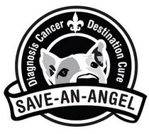 Save-An-Angel (Metairie, Louisiana) is a dog head in a circle with a fleur-de-lis and tagline and the org name on a banner