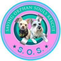 """Saving Orphan Souls Rescue (Glendale, Arizona) logo is a picture of two small dogs in a circle with the org name and """"SOS"""""""