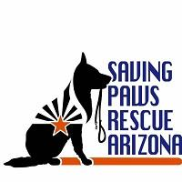 Saving Paws Rescue, AZ (Glendale, Arizona) logo is a black dog with a leash in its mouth and a star with rays on its side