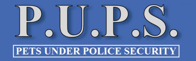 Pets Under Police Security, (Maple Grove, Minnesota) logo P.U.P.S. white on blue name underneath