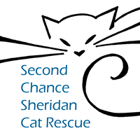 Second Chance Sheridan Cat Rescue (Sheridan, Wyoming) | logo of cat silhouette, blue paw print, whiskers, second chance