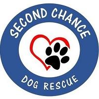 Second Chance Dog Rescue (Plaquemine, Louisiana) | logo of blue circle, red heart, black paw print, second chance dog rescue