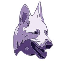 Sedona Shepherd Sanctuary (Millburn, New Jersey) | logo of white German Shepherd, field, purple Sedona Shepherd Sanctuary