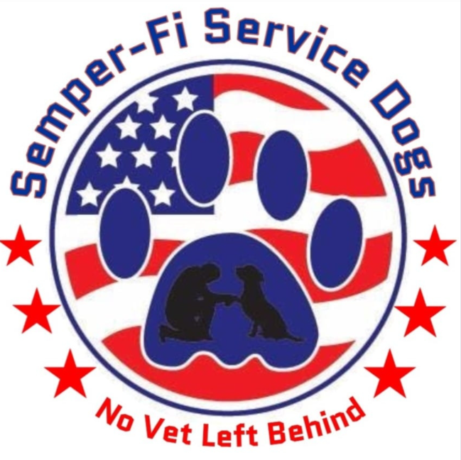 Semper Fi Service Dogs, Inc.(West Palm Beach, Florida) logo blue dog paw print on red white and blue flag with text
