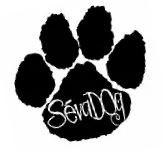 """SevaDog (Junction City, Oregon) logo is a pawprint with """"SevaDog"""" on the paw pad"""