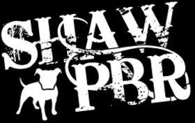 """Shaw Pit Bull Rescue (Columbus, Mississippi) logo is a white pit bull and """"SHAW PBR"""""""
