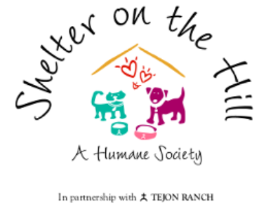 Shelter on the Hill A Humane Society, (Frazier Park, California) logo purple dog and turquoise cat silhouette with black text
