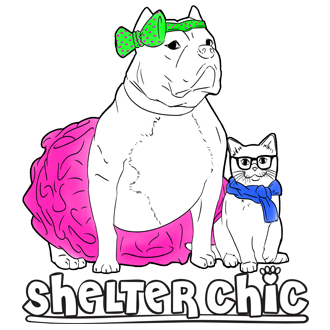 Shelter Chic (New York, New York)   logo of pit bull dog in tutu, cat in blue scarf, glasses, cartoon Shelter Chic, paw print
