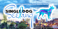 Single Dog Seeking (Tulsa, Oklahoma) logo is a cityscape with the organization name and a blue and purple dog on it