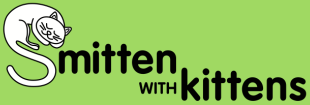 """Smitten with Kittens (Tallahassee, Florida) logo is the organization name with a sleeping cat forming the """"S"""""""