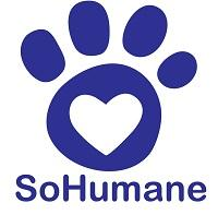 SoHumane (Medford, Oregon) logo is a purple pawprint with a heart inside the paw pad above the organization name