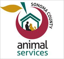 Sonoma County Animal Services (Santa Rosa, California) logo is a person and a dog inside a house inside an apple