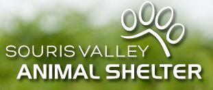 Souris Valley Animal Shelter (Minot, North Dakota) | logo of North Dakota state map, black dog, white cat, hugging, SVAS