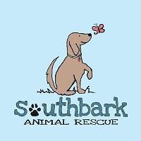 SouthBARK Animal Rescue (Pensacola, Florida) | logo of blue rectangle, brown dog, red butterfly, paw print, SouthBARK