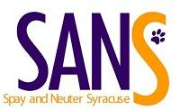 """Spay and Neuter Syracuse (Syracuse, New York) logo is """"SANS"""" with a pawprint next to the last """"S"""""""