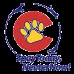 SpayToday, NeuterNow! (Lakewood, Colorado)   logo of red C, yellow paw print, dogs running around, SpayToday, NeuterNow!