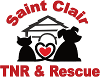 St. Clair TNR & Rescue (Belleville, Illinois) logo is a dog and cat in front of a house with a heart formed by their tails