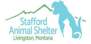 Stafford Animal Shelter (Livingston, Montana) | logo of blue dog, white cat, green mountains, Stafford Animal Shelter Livingston