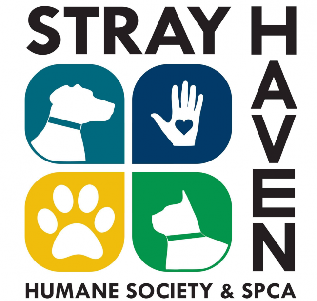 Stray Haven Humane Society and SPCA (Waverly, New York) for square with symbols surrounded by org name in black letters
