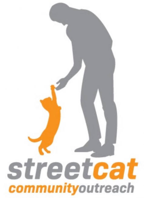 Street Cat Community Outreach (Martinsville, Indiana) logo is gray silhouette of man standing and touching orange cat's paw