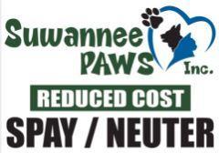 Suwannee PAWS (Live Oak, Florida) | logo of black paw print, black dog, blue cat, blue heart, reduced cost spay/neuter