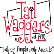 Tail Waggers 1990 (Livonia, Michigan) logo helping people help animals