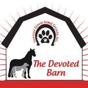 The Devoted Barn (Devoted Friends Animal Society) (Ortonville, Michigan) logo dog cat horse pawprint on barn