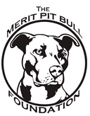 The Merit Pit Bull Foundation (Greensboro, North Carolina) logo is a black and white pit bull in a circle