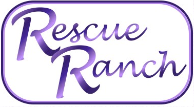 The Rescue Ranch (McRae Helena, Georgia) | logo of purple rectangle with Rescue Ranch text in script font inside