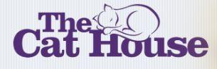 The Cat House (Lincoln, Nebraska) logo is the organization name in purple letters with the outline of a cat sleeping at the top