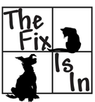 The Fix Is In (Lake Tomahawk, Wisconsin)   logo of black squares, window pane, black cat, black dog, The Fix is In