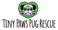 Tiny Paws Pug Rescue (Aptos, California) logo is a black and white pug in a green heart above the organization name