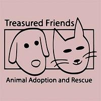 Treasured Friends Rescue (Highland, Indiana) logo is an outline drawing of a dog face and cat face inside a rectangle
