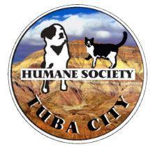 Tuba City Humane Society Inc (Tuba City, Arizona)   logo of black and white dog, cat, hills, desert, tuba city humane society
