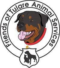 Tulare Animal Services (Tulare, California) | logo of brown and black dog, red collar, black dog, black cat