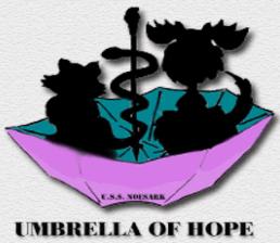 Umbrella of Hope (Pittsburg, California) | logo of caduceus, pink umbrella, black dog, black cat, text of umbrella of hope