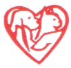 Union County Humane Society (Marysville, Ohio)   logo of red heart with a hand holding a cat and dog