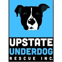 Upstate Underdog Rescue (Troy, New York) logo is a black and white dog head on a blue background above the organization name