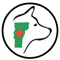 VT Dog Rescue (Hinesburg, Vermont) logo is Vermont with a red cross inside the outline of a dog head inside a circle